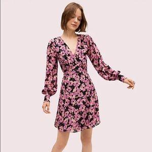 Kate Spade Wallflower Pink Floral Silk Mini Dress Size 16